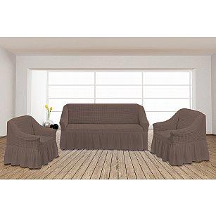 Набор чехлов для дивана и кресел TexRepublic Absolute, серо-бежевый