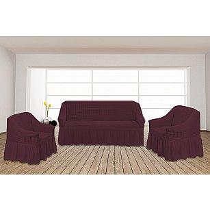 Набор чехлов для дивана и кресел TexRepublic Absolute, бордовый