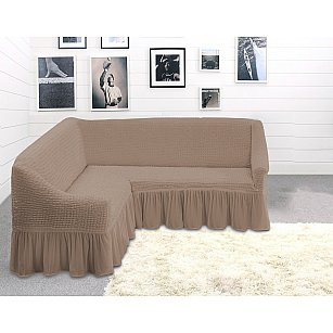Чехол на угловой диван TexRepublic Absolute трехместный, серо-бежевый