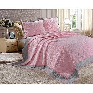 Покрывало велюр Танго Montblanc, розовый, серый, 240*260 см