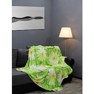 Плед микрофайбер Absolute Ромашки, зеленый, 180*210 см