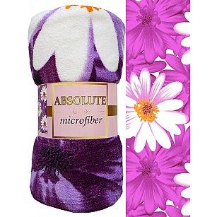 "Плед микрофайбер Absolute ""Ромашки"", фиолетовый, 150*200 см"