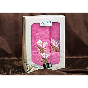 Комплект полотенец Yagmur ZAMBAK (Кала) Cotton в коробке (30*50; 50*90; 70*140), фуксия