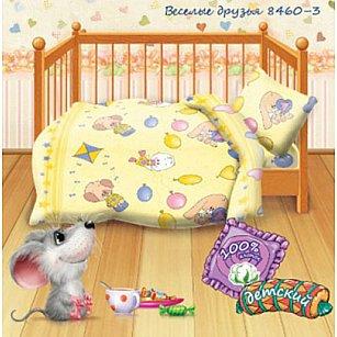 КПБ детский бязь 'Кошки-мышки' КДКм-1 рис.8460-3 Веселые друзья