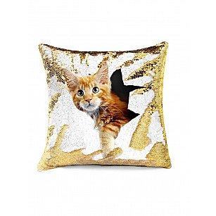 Подушка переводная из пайеток Magic Shine, Котик, золото, 40*40 см