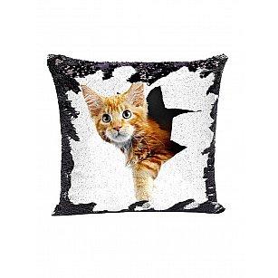 Подушка переводная из пайеток Magic Shine, Котик, черный, 40*40 см