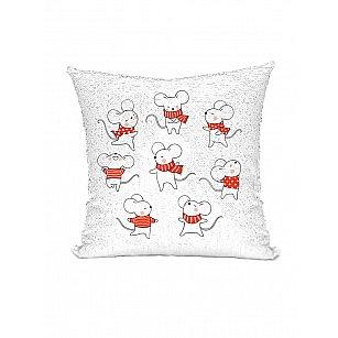 Подушка переводная из пайеток Magic Shine, Озорная мышь, красный, 40*40 см
