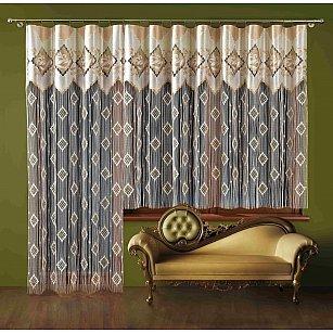 Кисея нитяная штора Рамона на зажимах, Кремовый, 130*250 см
