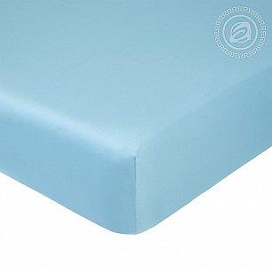 Простынь сатин на резинке, голубой, 140*200 см
