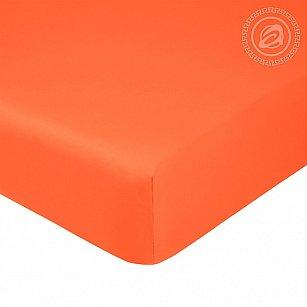 Простынь сатин на резинке, оранжевый