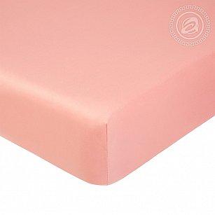Простынь сатин на резинке, розовый
