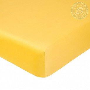 Простынь сатин на резинке, желтый