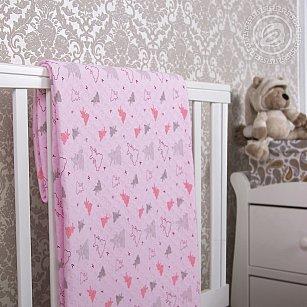 """Одеяло-покрывало трикотажное """"Мишки-малышки розовый"""""""