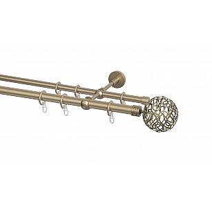 Карниз металлический Arttex с наконечником №100, 2-рядный, бронза, ø 20 мм, ø 16 мм