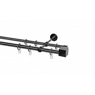 Карниз металлический Arttex с наконечником №101, 2-рядный, оникс, ø 20 мм, ø 16 мм