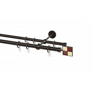 Карниз металлический Arttex с наконечником №116, 2-рядный, шоколад, ø 20 мм, ø 16 мм