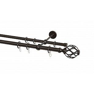 Карниз металлический Arttex с наконечником №158, 2-рядный, шоколад, ø 20 мм, ø 16 мм
