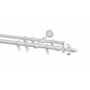 Карниз металлический Arttex с наконечником №16, 2-рядный, белое золото ампир, ø 20 мм, ø 16 мм