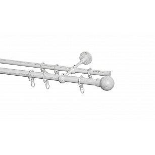 Карниз металлический Arttex с наконечником №18, 2-рядный, белое золото ампир, ø 20 мм, ø 16 мм