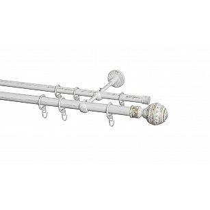 Карниз металлический Arttex с наконечником №255, 2-рядный, белое золото ампир, ø 20 мм, ø 16 мм