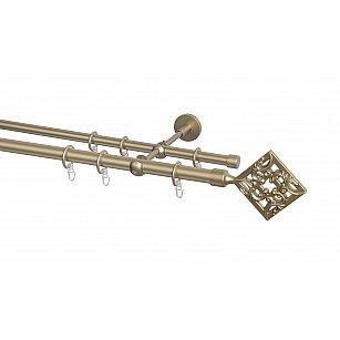 Карниз металлический Arttex с наконечником №260, 2-рядный, бронза, ø 20 мм, ø 16 мм