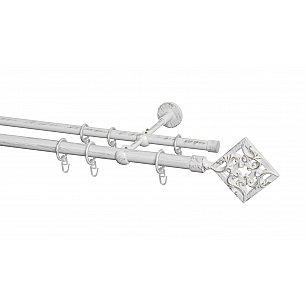Карниз металлический Arttex с наконечником №260, 2-рядный, белое золото ампир, ø 20 мм, ø 16 мм