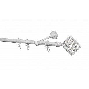 Карниз металлический Arttex с наконечником №260, 1-рядный, белое золото ампир, ø 20 мм
