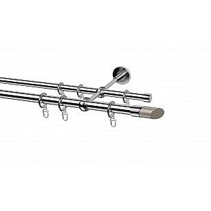 Карниз металлический Arttex с наконечником №32, 2-рядный, хром, ø 20 мм, ø 16 мм