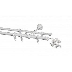 Карниз металлический Arttex с наконечником №365, 2-рядный, белое золото ампир, ø 20 мм, ø 16 мм