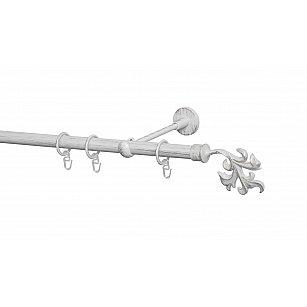 Карниз металлический Arttex с наконечником №365, 1-рядный, белое золото ампир, ø 20 мм