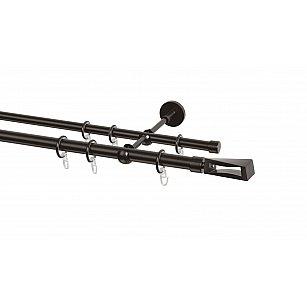 Карниз металлический Arttex с наконечником №395, 2-рядный, шоколад, ø 20 мм, ø 16 мм