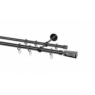 Карниз металлический Arttex с наконечником №395, 2-рядный, оникс, ø 20 мм, ø 16 мм
