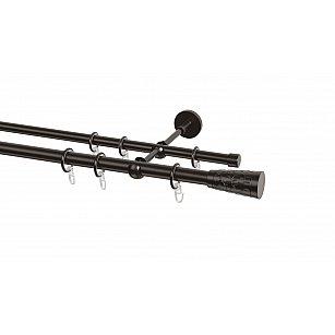 Карниз металлический Arttex с наконечником №41, 2-рядный, шоколад, ø 20 мм, ø 16 мм