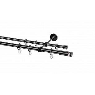 Карниз металлический Arttex с наконечником №49, 2-рядный, оникс, ø 20 мм, ø 16 мм