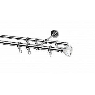 Карниз металлический Arttex с наконечником №67, 2-рядный, хром, ø 20 мм, ø 16 мм