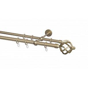 Карниз металлический Arttex с наконечником №83, 2-рядный, бронза, ø 20 мм, ø 16 мм
