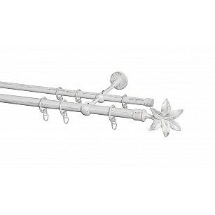 Карниз металлический Arttex с наконечником №87, 2-рядный, белое золото ампир, ø 20 мм, ø 16 мм