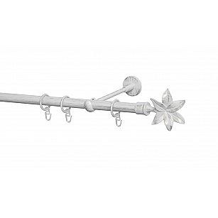 Карниз металлический Arttex с наконечником №87, 1-рядный, белое золото ампир, ø 20 мм