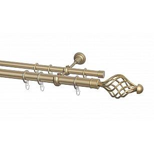 Карниз металлический Arttex с наконечником №250, 2-рядный, бронза, ø 28 мм, ø 20 мм
