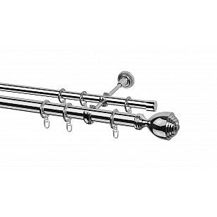 Карниз металлический Arttex с наконечником №252, 2-рядный, хром, ø 28 мм, ø 20 мм