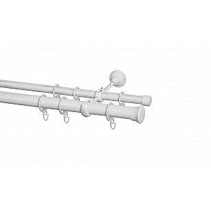 Карниз металлический Arttex с наконечником №299, 2-рядный, белое золото ампир, ø 28 мм, ø 20 мм