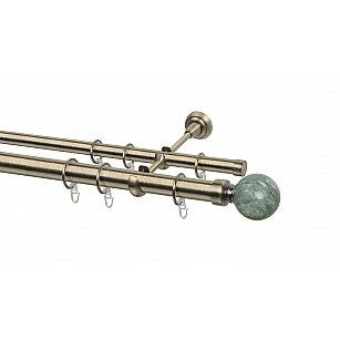 Карниз металлический Arttex с наконечником №487, 2-рядный, золото антик, ø 28 мм, ø 20 мм