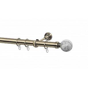 Карниз металлический Arttex с наконечником №488, 1-рядный, золото антик, ø 28 мм