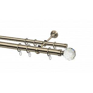 Карниз металлический Arttex с наконечником №65, 2-рядный, золото антик, ø 28 мм, ø 20 мм