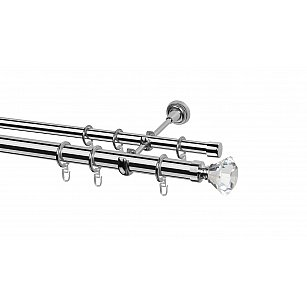 Карниз металлический Arttex с наконечником №67, 2-рядный, хром, ø 28 мм, ø 20 мм