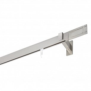 Карниз алюминиевый Хай-тек с наконечником Линии, 1-рядный, сатин, ø 32*12 мм