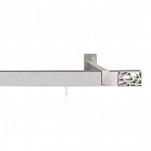 Карниз алюминиевый Хай-тек с наконечником Листья, 1-рядный, сатин, ø 32*12 мм