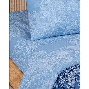 Простынь поплин гладкокрашеный на резинке, Синие узоры, арт. 945, 180*200 см-A