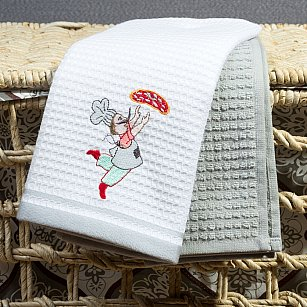 Набор кухонных полотенец Arya Chief 1 (Повар), белый, серый, 40*60 см - 2 шт