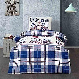 КПБ КПБ подростковое ранфорс Arya Moving (1.5 спальный), белый, синий
